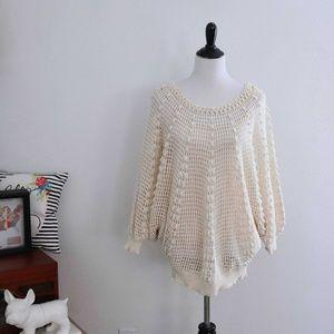 1990s Crochet Sweater Oversized Batwing Boho L